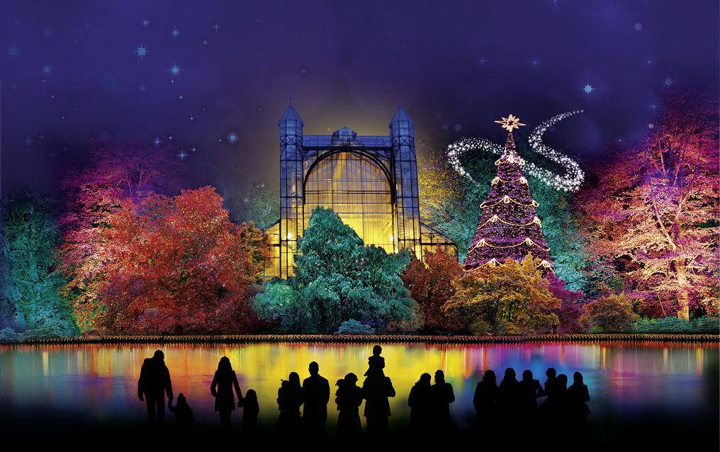 Eventyrlig juleudsmykning i Botanischer Garten